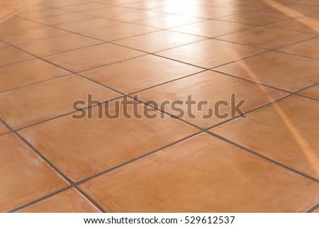 Shiny Tiled Floor Terracotta Tiles Stock Photo Edit Now 529612537
