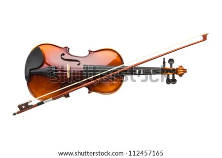Shiny violin and bow isolated on white background - stock photo