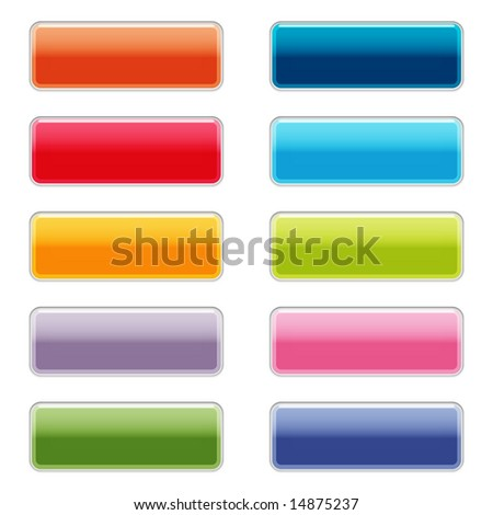Shiny web buttons with reflection and shadows, isolated on white
