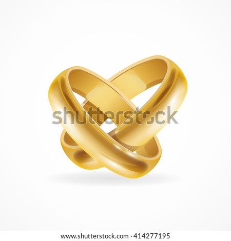 Shiny Wedding Gold Rings. Symbol of Love and Wedding. illustration - stock photo
