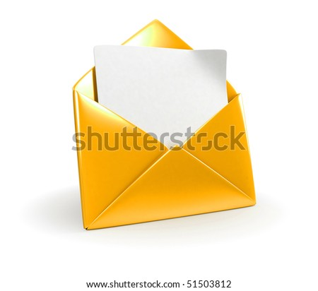 Shiny Yellow Mail Envelope