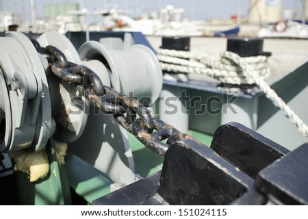 Ship anchor chain on the boat