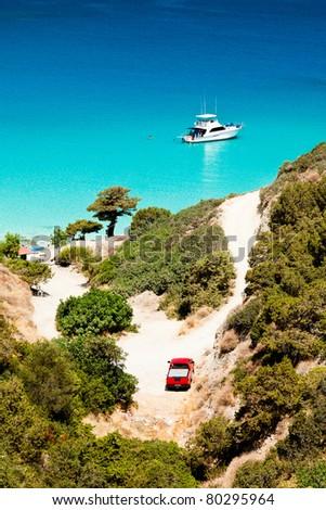 Ship anchored in the bay. Crete, Greece. - stock photo