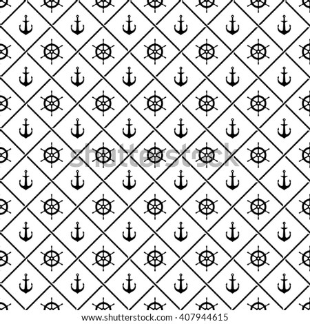 Ship anchors and yacht boat helm rudder with crossing sea ropes seamless pattern. Black and white. - stock photo