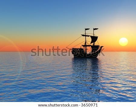 Ship and  sunset  sky - 3d landscape scene . - stock photo
