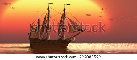 Ship at Sunset - A galleon frigate ship makes it way across ocean waters as the sun sets on another day. - stock photo