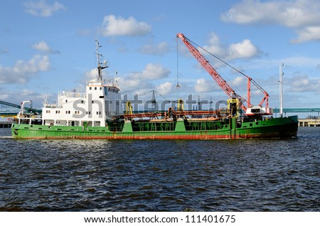 ship at the cargo port. Ventspils terminal, Latvia - stock photo