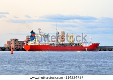ship at the cargo port. Ventspils terminal, Latvia