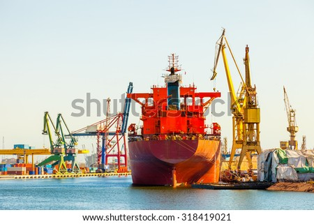 Ship at the wharf in shipyard Gdansk, Poland. - stock photo