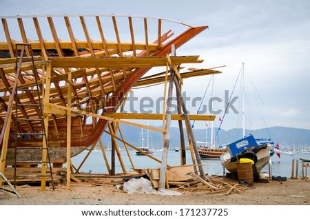 Ship building of new boards - stock photo