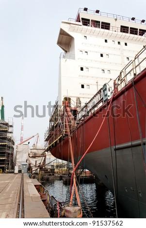 Ship building - Shipyard of Gdansk, Poland. - stock photo