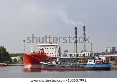Ship bunkering - stock photo
