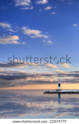 Ship Canal Light Reflection - Sturgeon Bay, Door County, Wisconsin - stock photo