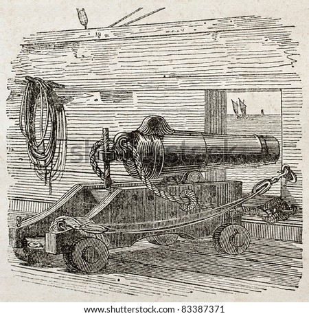Ship cannon old illustration. By unidentified author, published on Magasin Pittoresque, Paris, 1840 - stock photo