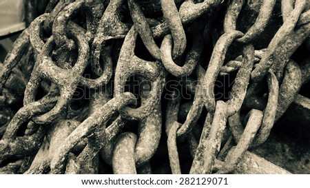 Ship chains - black and white - close up - stock photo