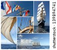 Ship collage. Sailing ship. Sailing concept - stock photo