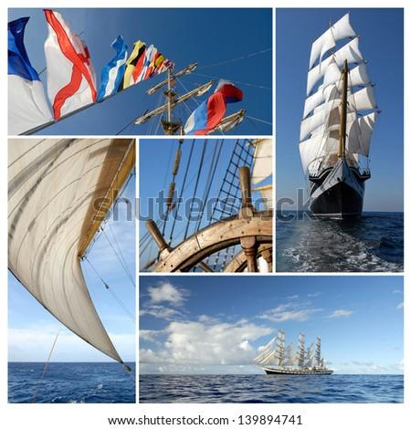 Ship collage. Sailing ship. Sailing concept - stock photo