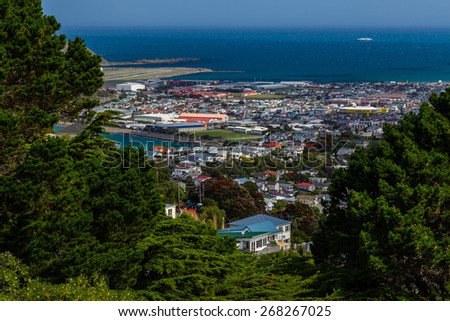 Ship coming to the port of Wellington, North island of New Zealand - stock photo