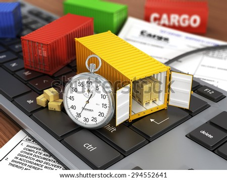 Ship containers on the keyword. Concept of delivering, shipping or logistics. - stock photo