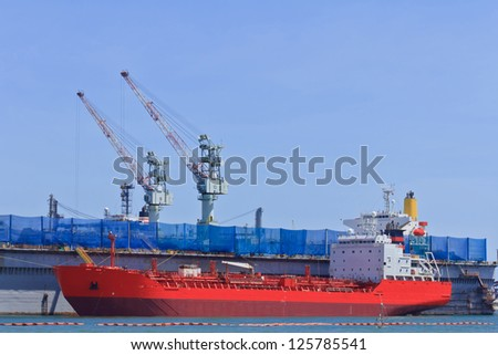 Ship during construction works in a shipyard
