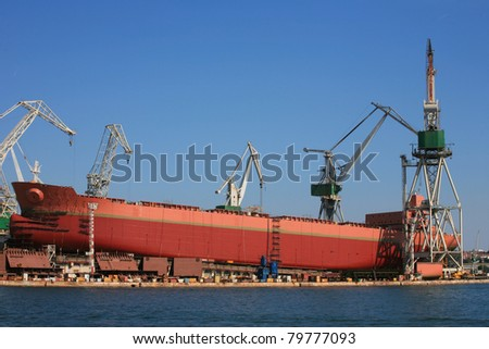Ship during construction works in Pula, Croatia.