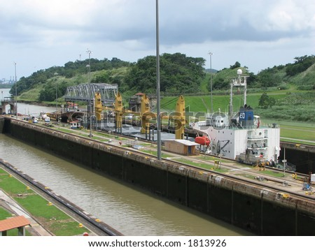 Ship going thru The Panama Canal - stock photo