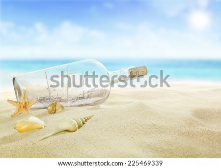 Ship in a bottle on the beach. - stock photo