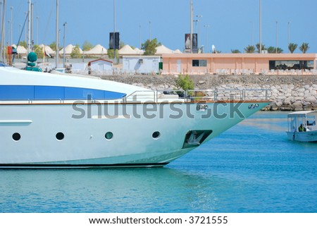 Ship in a deep blue water - stock photo