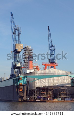 ship in a dock - stock photo