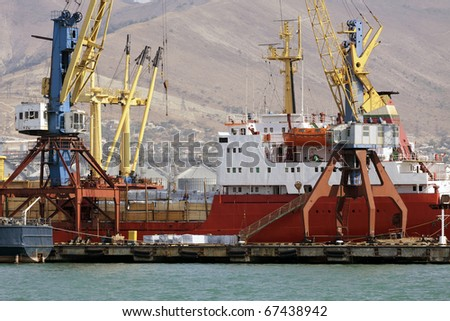 Ship in a port - stock photo