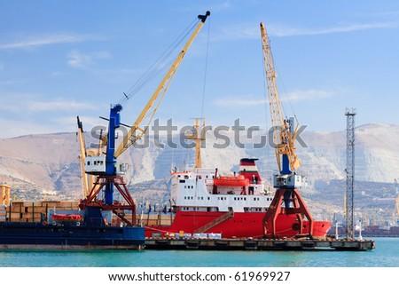 Ship in a port of Novorossiysk, Russia - stock photo