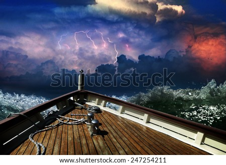 ship in a stormy sea - stock photo