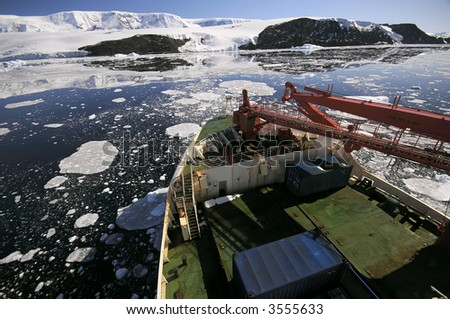 Ship in Antarctica - stock photo