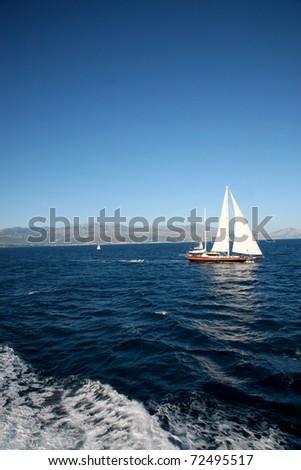 Ship in croatia close by Korcula - stock photo