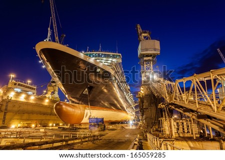 Ship in dry dock, Bahamas - stock photo