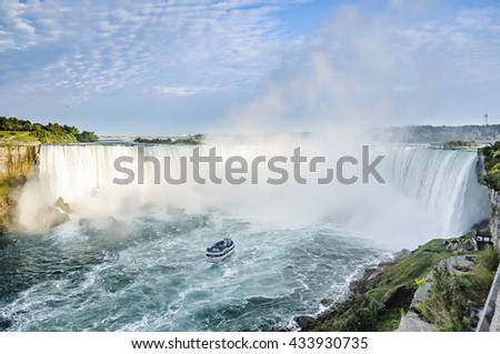 Ship in front of Horseshoe Fall, Niagara Falls, Ontario, Canada  - stock photo