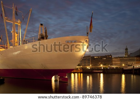 Ship in Hamburg Harbour - stock photo