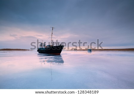 ship in ice - stock photo