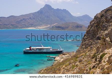 Ship in lagoon of Gramvousa island, Crete - stock photo