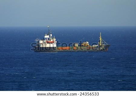 Ship in Mediterranean sea near Cyprus - stock photo