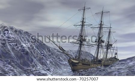 ship in ocean storm - stock photo