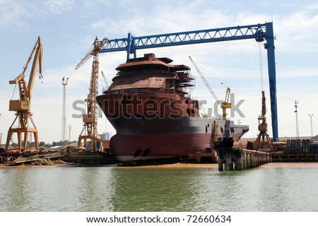 Ship In Repair Yard.