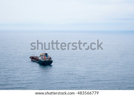 Ship in roadstead near the commercial port of Novorossiysk, Russia