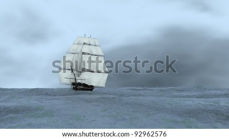 ship in stormy ocean - stock photo