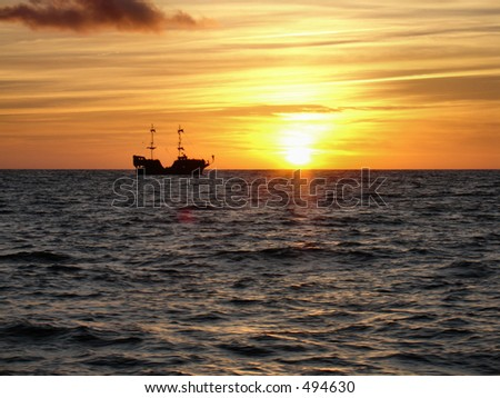 ship in sunset 2 - stock photo
