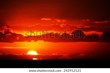 Ship in sunset light  - stock photo