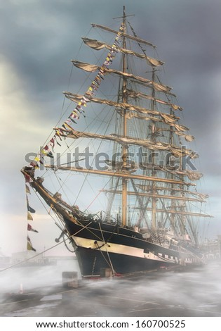 Ship in the fog - stock photo