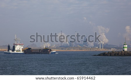 ship in the harbour of IJmuiden - stock photo
