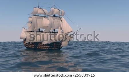 ship in the ocean - stock photo