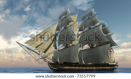 ship in the ocean - stock photo